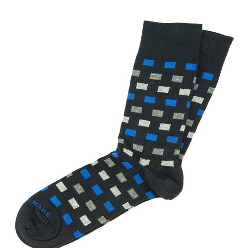 Black/blue/grey squares sock Swatch