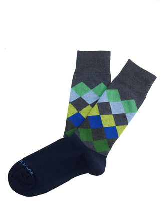 Green/blue horizontal diamond sock