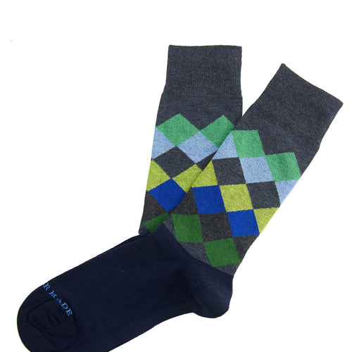 Green/blue horizontal diamond sock Swatch