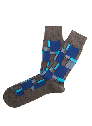 Brown/blue block sock