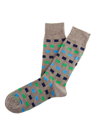 Brown/blue square sock