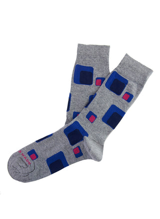 Grey/pink geometric sock