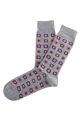 Grey multi square dot sock