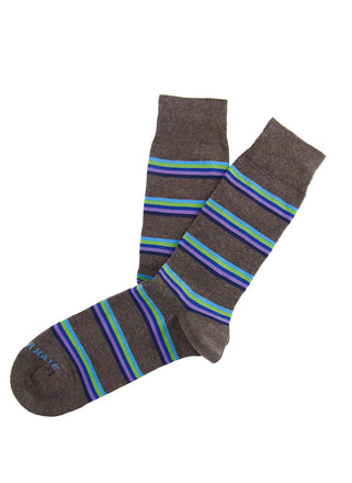 Brown/blue rainbow stripe sock