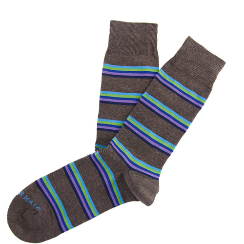 Brown/blue rainbow stripe sock Swatch