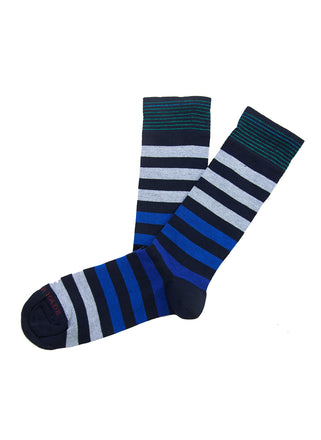 Navy/blue colorblock stripe sock
