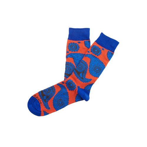 Orange/blue paisley sock Swatch