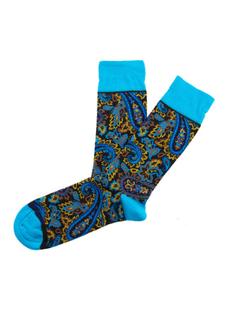 Brown/turquoise paisley sock