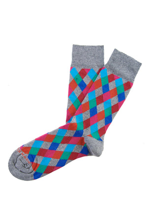 Grey/green multi diamond sock