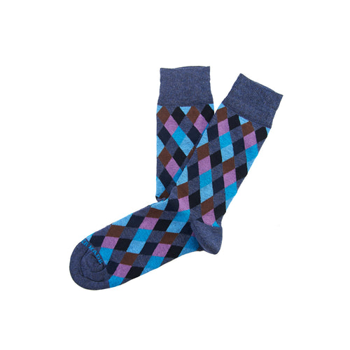 Blue/multi multi diamond sock Swatch