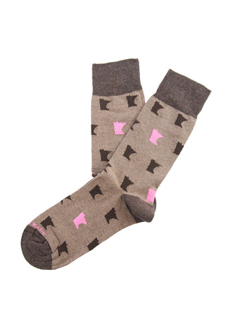 Brown/pink 2 color MN sock