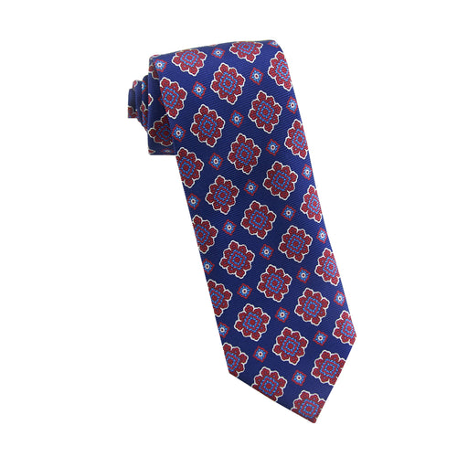 Red geo floral tie - 262-19 Swatch