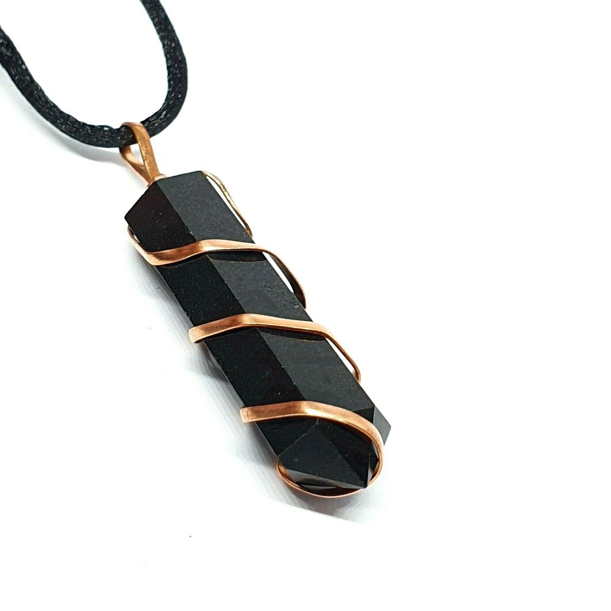 Black Tourmaline Wire Wrapped Necklace - Our Chakras