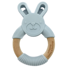 Grey Bunny | Silicone and Beech Teether - mummyandaustinboutique