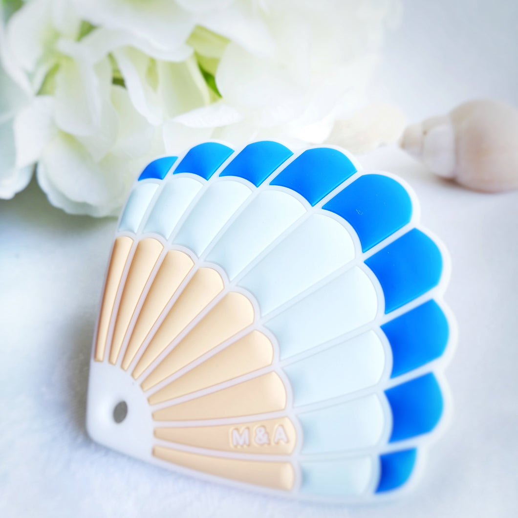 Blue Seashell Teether - mummyandaustinboutique