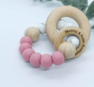 Simplicity Collection: Blush & Marble | Teething Ring - mummyandaustinboutique