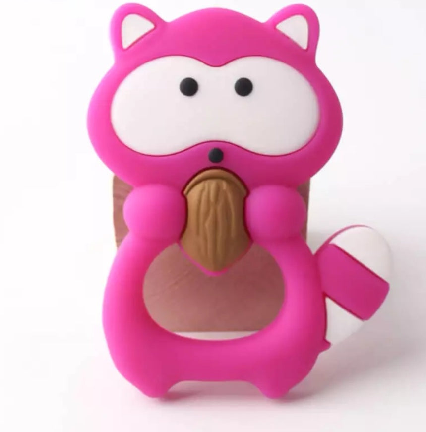 Bright Pink Raccoon Animal Silicone Teether - mummyandaustinboutique