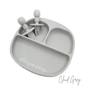 Suction Plates with dividers - FREE matching cutlery - mummyandaustinboutique