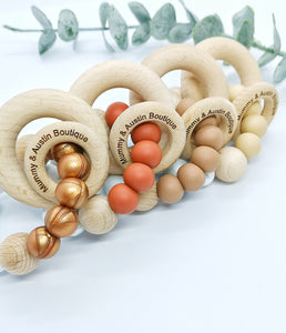 Simplicity Collection: Copper/ Rust / Camel / Butterscotch Teething Ring - mummyandaustinboutique