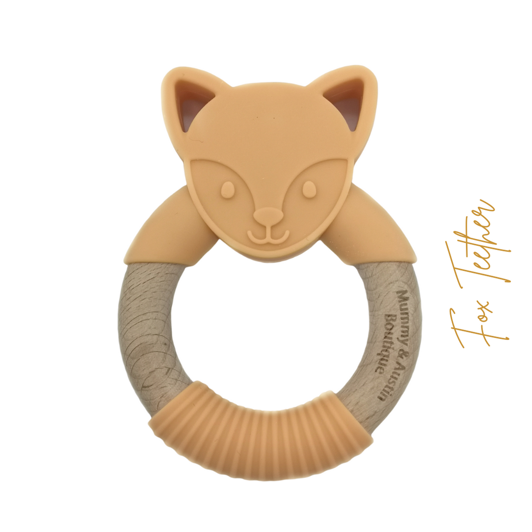 Fox | Silicone and Beech Teether - mummyandaustinboutique