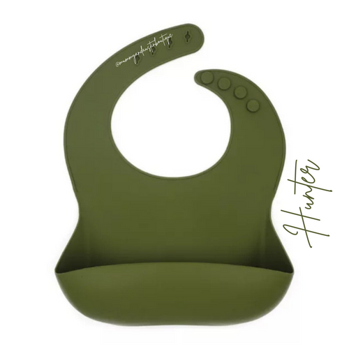 Hunter Green | Personallised | Silicone Bib - mummyandaustinboutique