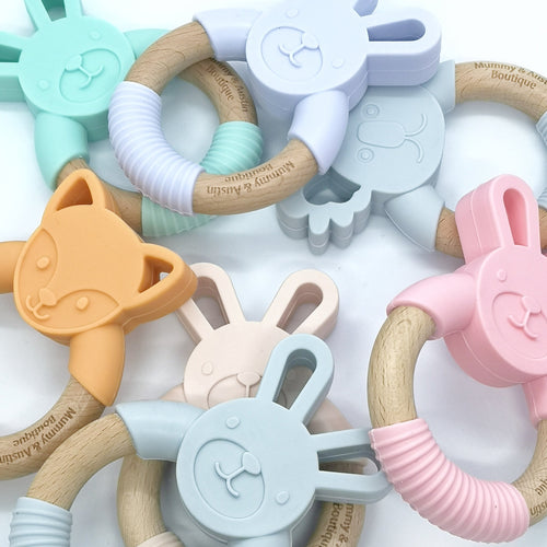Bunny | Pink, Mint, Lilac, Grey| Silicone and Beech Teether - mummyandaustinboutique