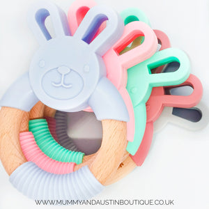 Bunny | Silicone and Beech Teether - mummyandaustinboutique