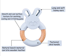 Load image into Gallery viewer, Grey Bunny | Silicone and Beech Teether - mummyandaustinboutique