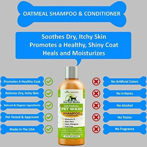 All Natural Organic Oatmeal Pet Shampoo + Conditioner - Hypoallergenic for Sensitive Skin 17oz