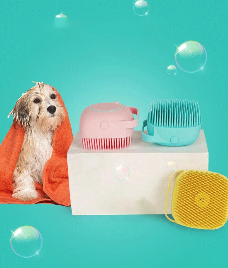 Pet Bath Brush, Massage Brush Shampoo Dispenser, Soft Silicone Rubber Brush for Dogs and Cats Grooming
