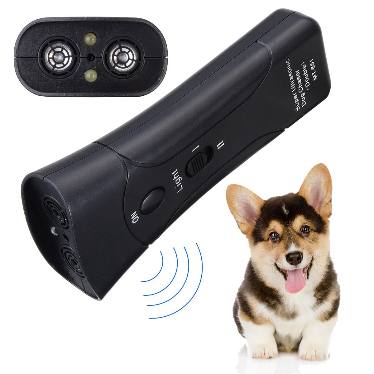 Ultrasonic Dog Anti Barking Trainer - Multifunction with High Power LED Flashlight