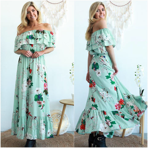 Marlee Floral Print Ruffle Trim Maxi Dress Mint