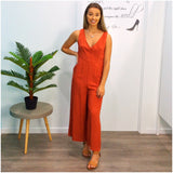 Tania Button Front Jumpsuit Rust