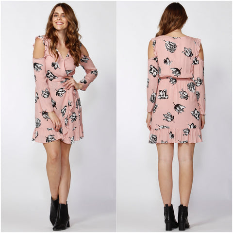 Sass Winter Blooms Ruffle Dress Petal