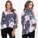 Zelly Floral Print Split Sleeve Top Slate