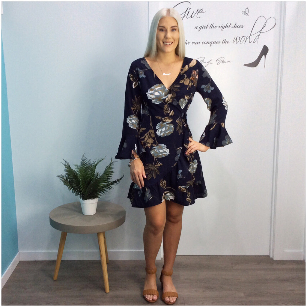 Millie Floral Tranquility Print Wrap Dress Navy