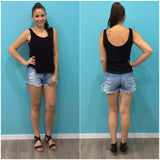 Refuge Coachella Denim Shorts Mid Blue
