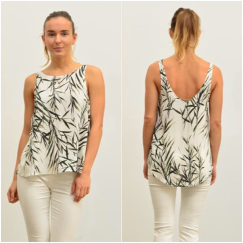 Silver Wishes Bamboo Leaf Print Button Detail Singlet