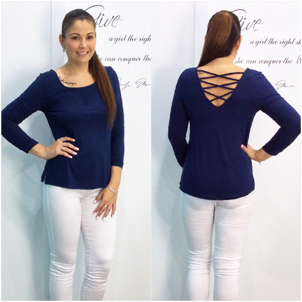 Silver Wishes Criss Cross Back Top Navy
