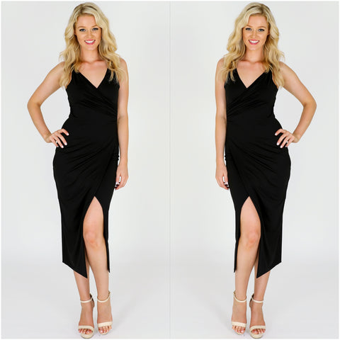 Third Love V Neck Midi Dress Black