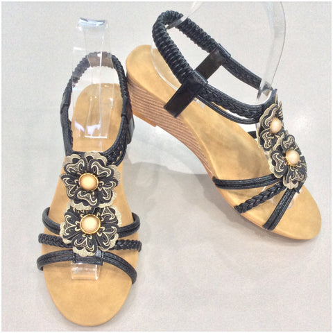 Florinda Flower Detail Small Wedge Sandals Black