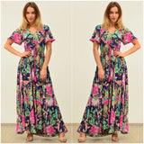 Silver Wishes Button Front Floral Bird Print Maxi Dress Navy