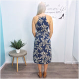 Ingrid Floral Leaf Print Dress Blue