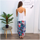 Quelque Button Detail Abstract Tropical Floral Print Harem Pants