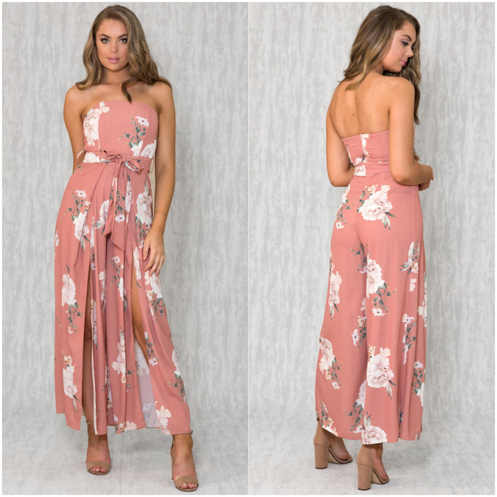 Majestic Floral Beauty Print Jumpsuit Blush