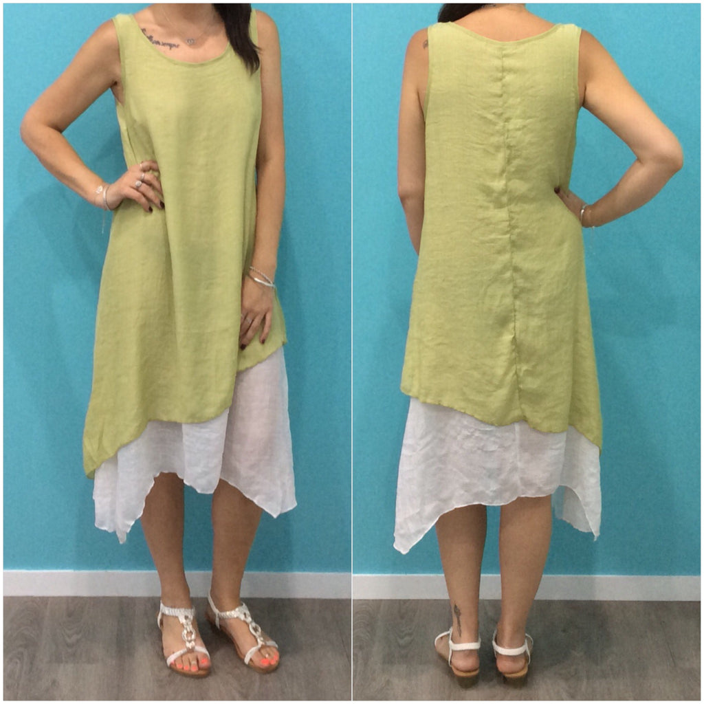 Missy Q Contrast Layered Dress Lime