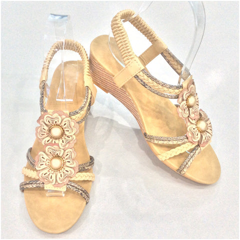 Florinda Flower Detail Small Wedge Sandals Beige