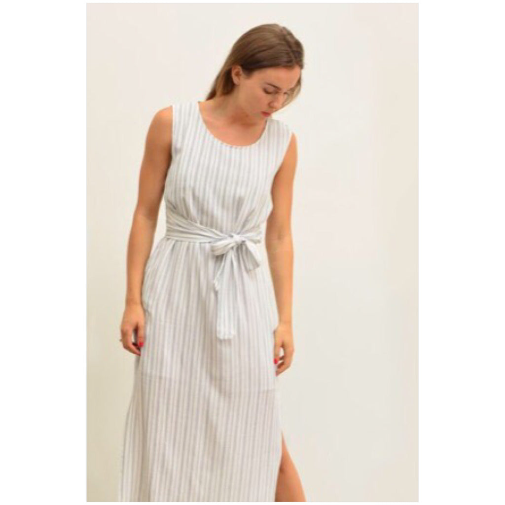 ea70531a657 Silver Wishes Striped Linen Tie Waist Dress – Hypnotic Fashion