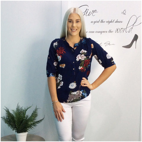 Quelque Tab Sleeve Floral Print Blouse Navy
