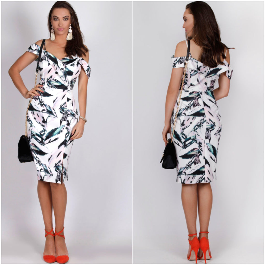 Teaberry Cold Shoulder Abstract Leaf Print Dress